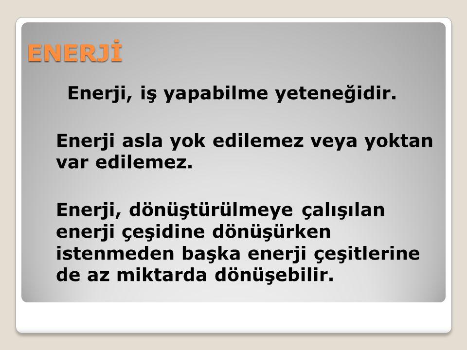 ENERJİ Enerji, iş yapabilme yeteneğidir.