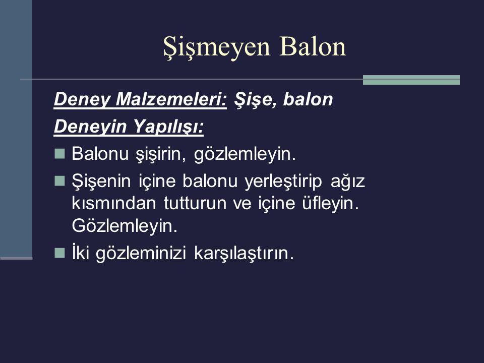 Şişmeyen Balon Deney Malzemeleri: Şişe, balon Deneyin Yapılışı: