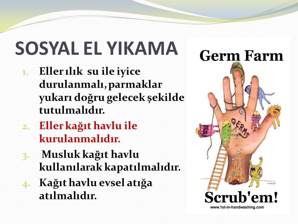 SOSYAL EL YIKAMA Eller ılık su ile iyice durulanmalı, parmaklar yukarı doğru gelecek şekilde tutulmalıdır.
