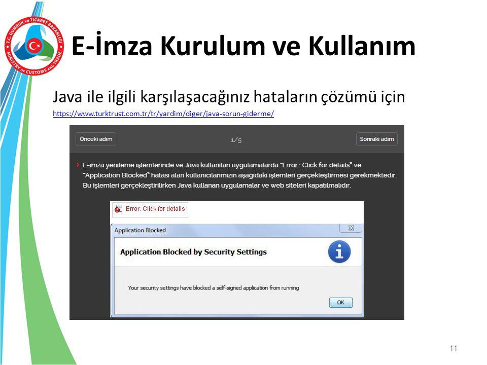 E-İmza Kurulum ve Kullanım