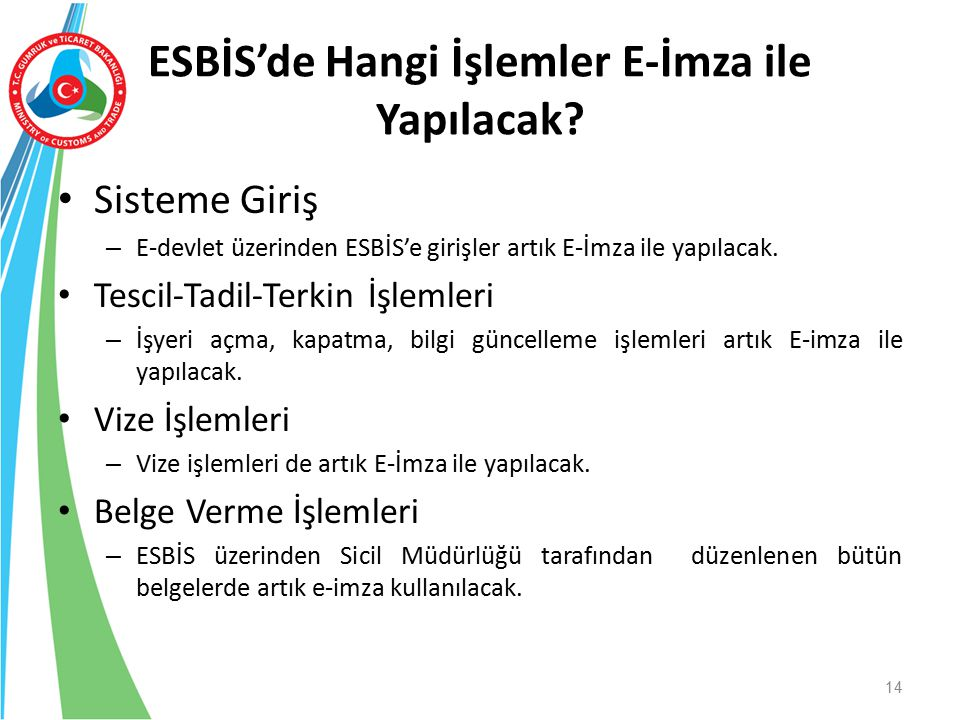 ESBİS'de Hangi İşlemler E-İmza ile Yapılacak