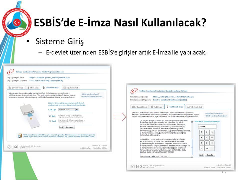 ESBİS'de E-İmza Nasıl Kullanılacak