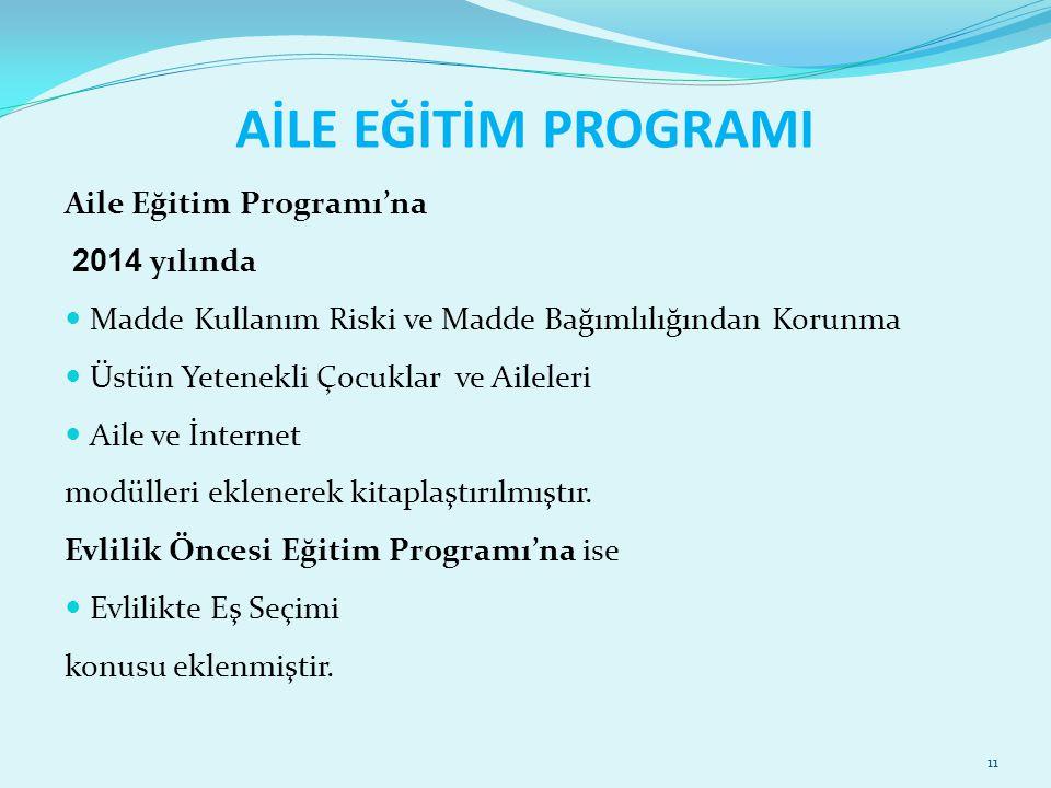 AİLE EĞİTİM PROGRAMI Aile Eğitim Programı'na 2014 yılında