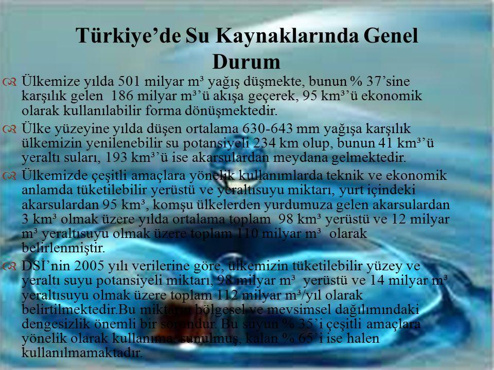 Türkiye'de Su Kaynaklarında Genel Durum