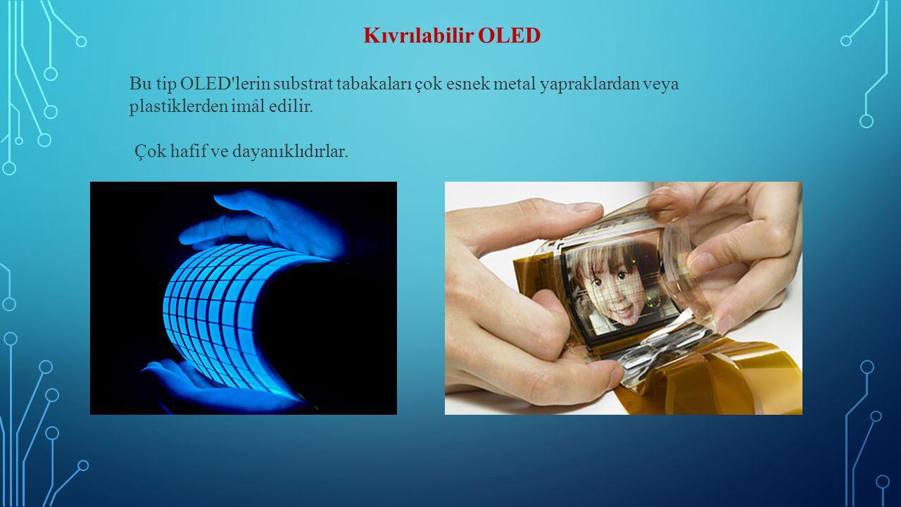 Kıvrılabilir OLED Bu tip OLED lerin substrat tabakaları çok esnek metal yapraklardan veya plastiklerden imâl edilir.