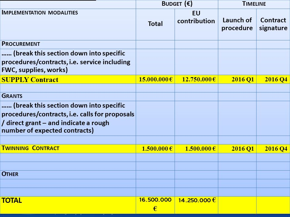 TOTAL Budget (€) Timeline Implementation modalities Total