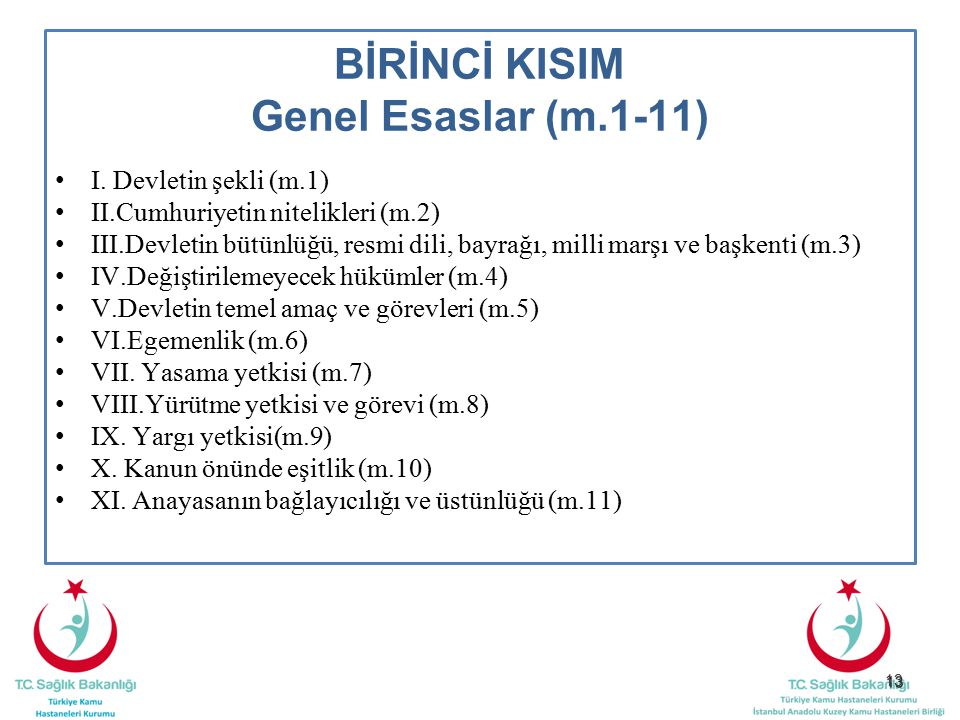 BİRİNCİ KISIM Genel Esaslar (m.1-11)