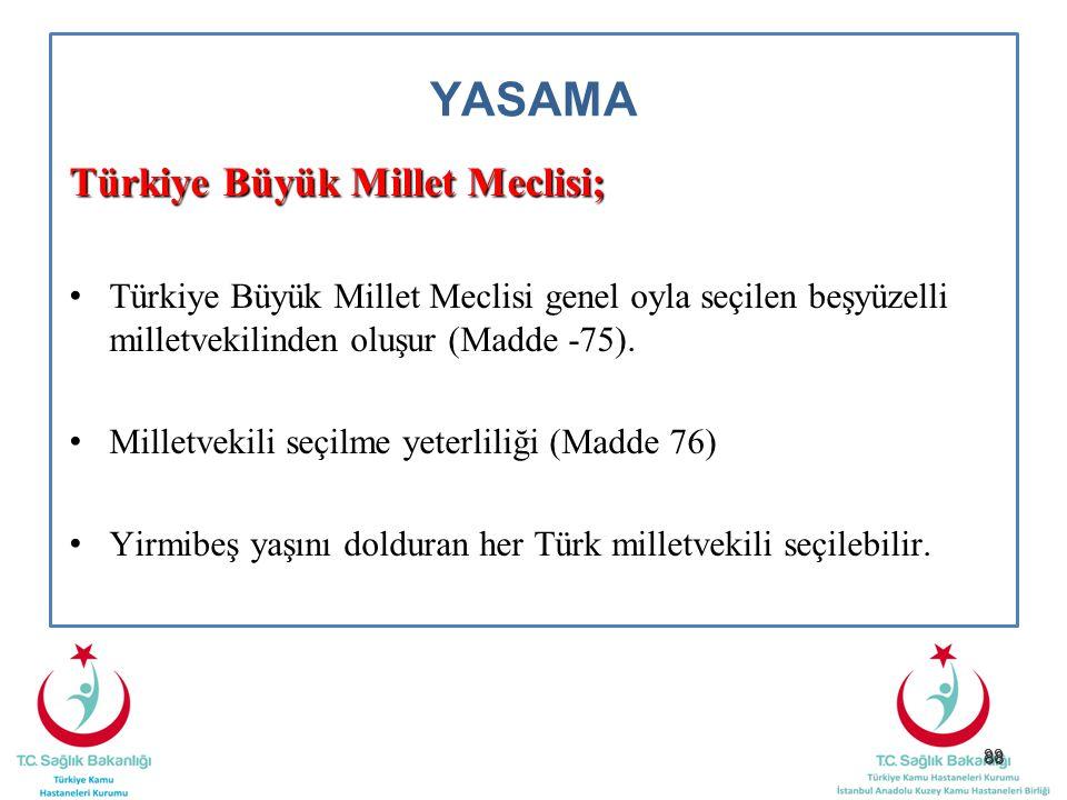YASAMA Türkiye Büyük Millet Meclisi;