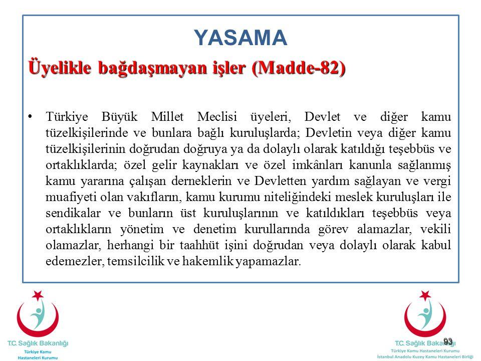 YASAMA Üyelikle bağdaşmayan işler (Madde-82)