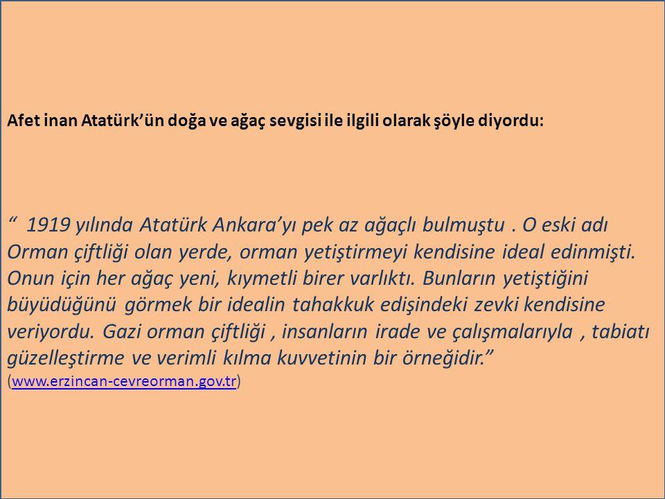 1919 yılında Atatürk Ankara'yı pek az ağaçlı bulmuştu . O eski adı
