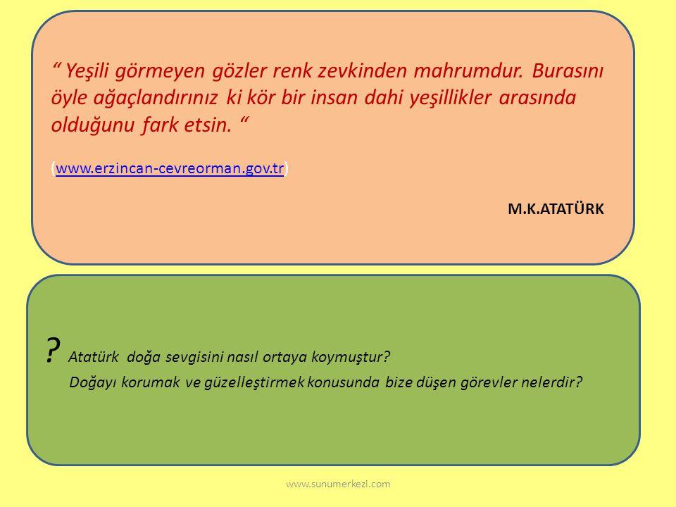 Atatürk doğa sevgisini nasıl ortaya koymuştur