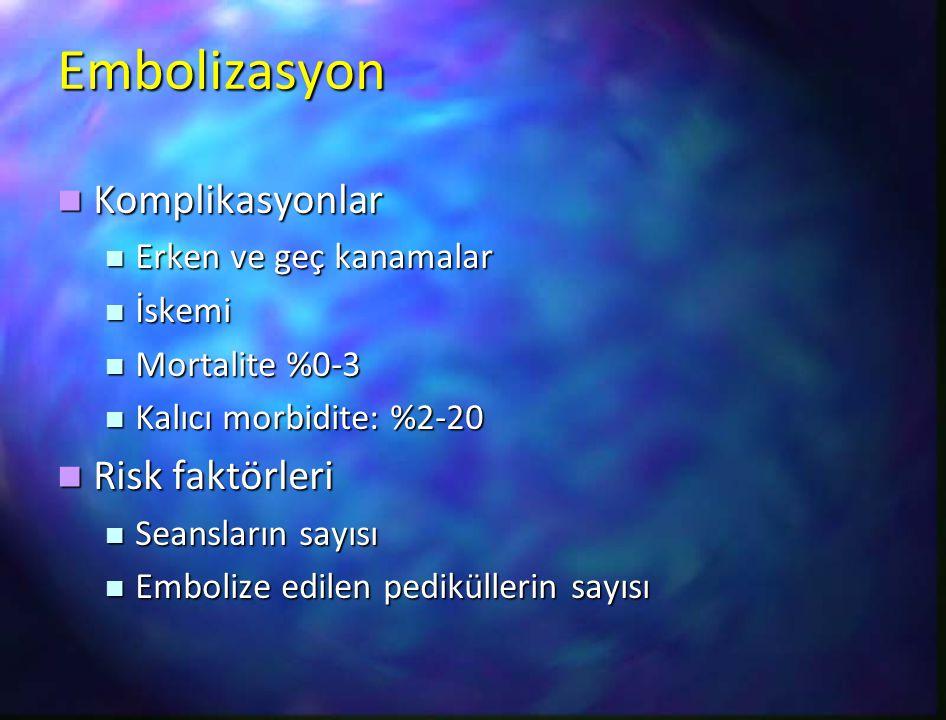 Embolizasyon Komplikasyonlar Risk faktörleri Erken ve geç kanamalar