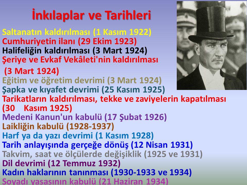 İnkılaplar ve Tarihleri