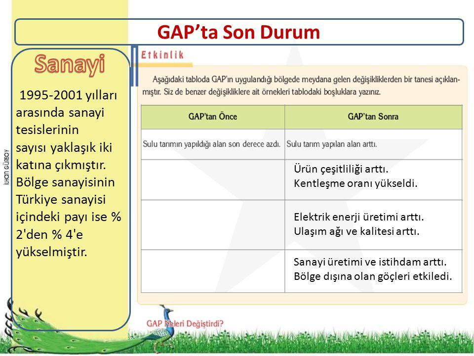 GAP'ta Son Durum 1995-2001 yılları arasında sanayi tesislerinin