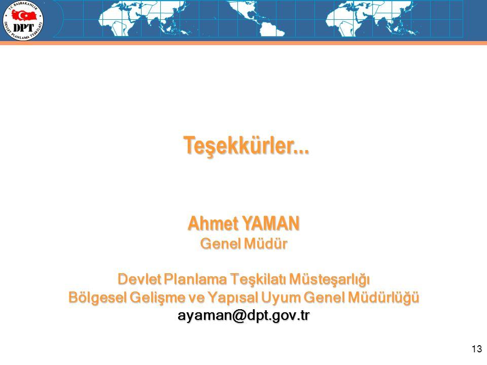 Teşekkürler... Ahmet YAMAN Genel Müdür
