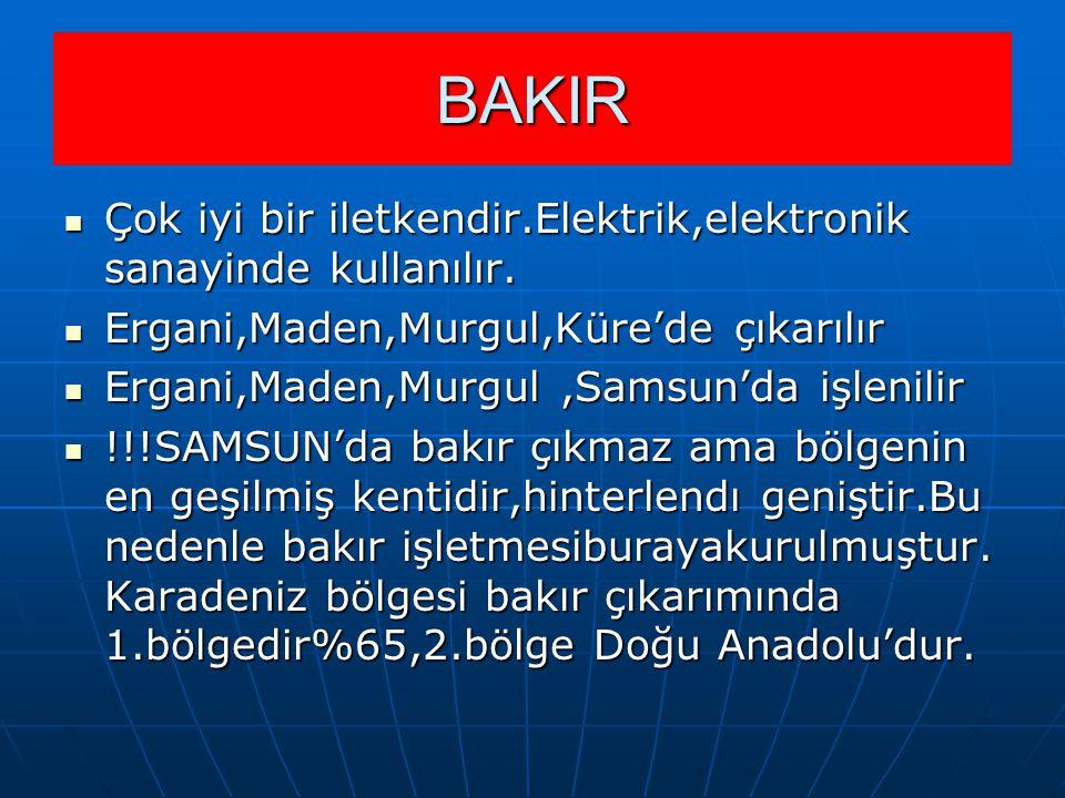BAKIR Çok iyi bir iletkendir.Elektrik,elektronik sanayinde kullanılır.