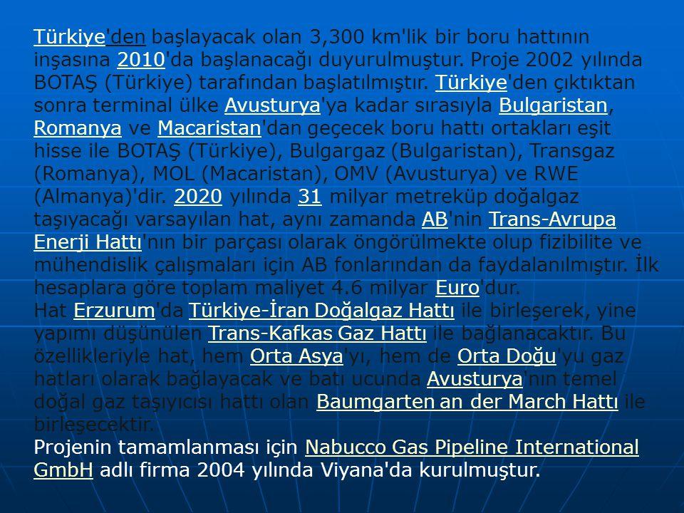 Türkiye den başlayacak olan 3,300 km lik bir boru hattının inşasına 2010 da başlanacağı duyurulmuştur. Proje 2002 yılında BOTAŞ (Türkiye) tarafından başlatılmıştır. Türkiye den çıktıktan sonra terminal ülke Avusturya ya kadar sırasıyla Bulgaristan, Romanya ve Macaristan dan geçecek boru hattı ortakları eşit hisse ile BOTAŞ (Türkiye), Bulgargaz (Bulgaristan), Transgaz (Romanya), MOL (Macaristan), OMV (Avusturya) ve RWE (Almanya) dir. 2020 yılında 31 milyar metreküp doğalgaz taşıyacağı varsayılan hat, aynı zamanda AB nin Trans-Avrupa Enerji Hattı nın bir parçası olarak öngörülmekte olup fizibilite ve mühendislik çalışmaları için AB fonlarından da faydalanılmıştır. İlk hesaplara göre toplam maliyet 4.6 milyar Euro dur.