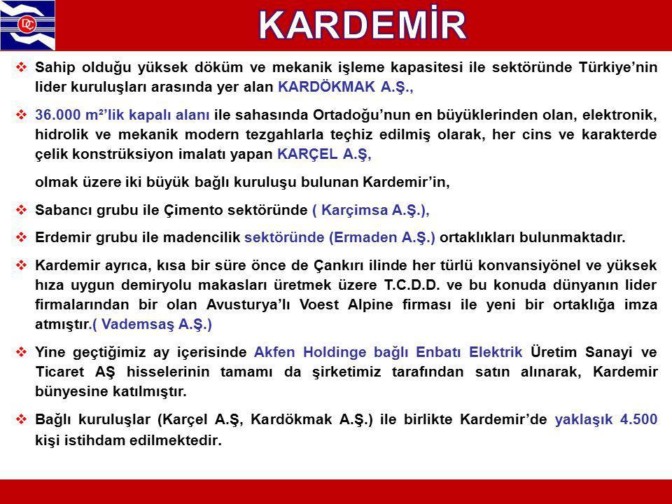 KARDEMİR Sahip olduğu yüksek döküm ve mekanik işleme kapasitesi ile sektöründe Türkiye'nin lider kuruluşları arasında yer alan KARDÖKMAK A.Ş.,
