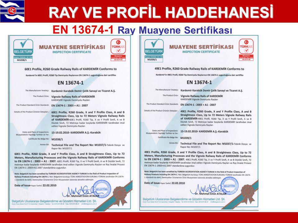 RAY VE PROFİL HADDEHANESİ EN 13674-1 Ray Muayene Sertifikası