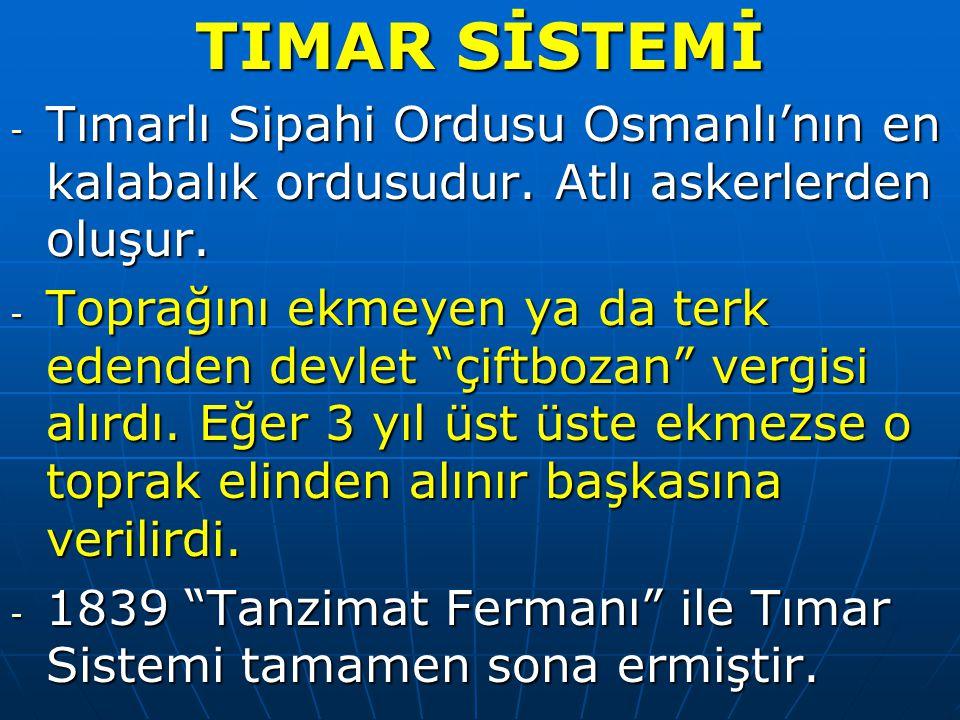 TIMAR SİSTEMİ Tımarlı Sipahi Ordusu Osmanlı'nın en kalabalık ordusudur. Atlı askerlerden oluşur.