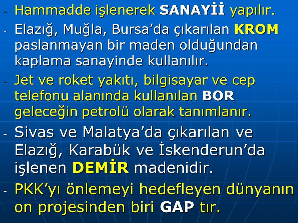 PKK'yı önlemeyi hedefleyen dünyanın on projesinden biri GAP tır.
