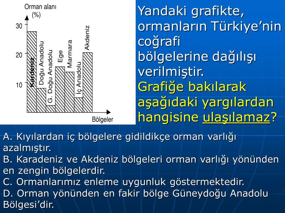 Yandaki grafikte, ormanların Türkiye'nin coğrafi