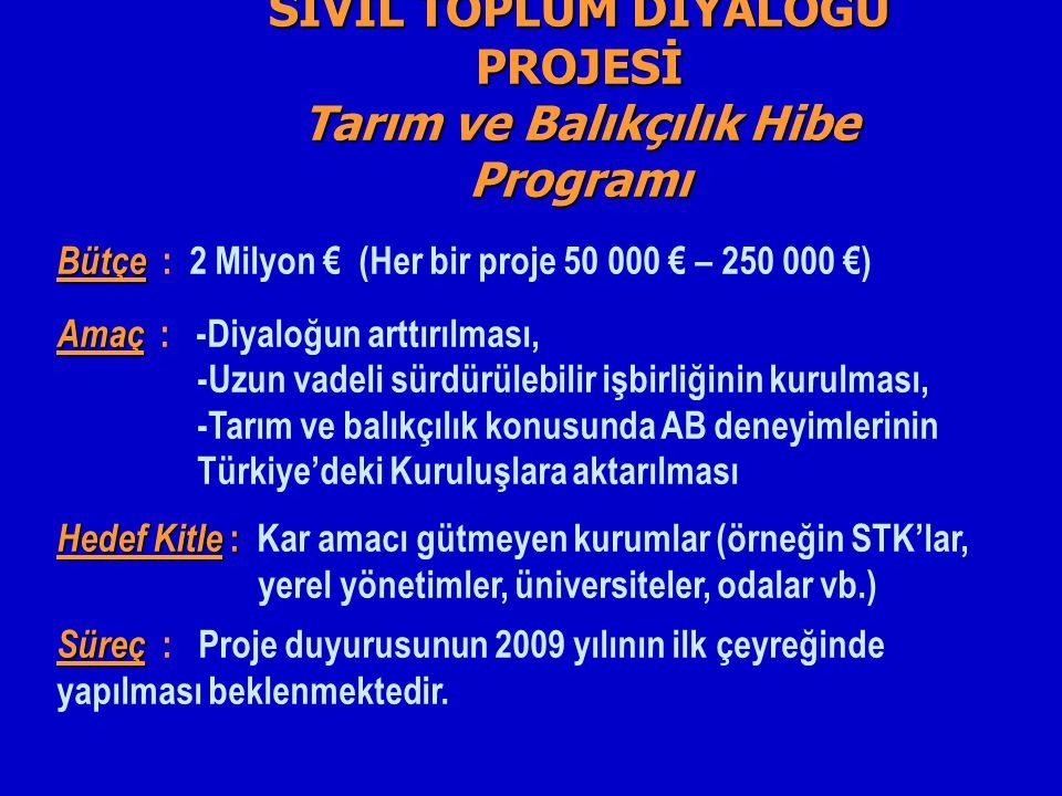 SİVİL TOPLUM DİYALOĞU PROJESİ Tarım ve Balıkçılık Hibe Programı