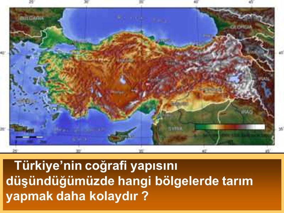 Türkiye'nin coğrafi yapısını düşündüğümüzde hangi bölgelerde tarım yapmak daha kolaydır