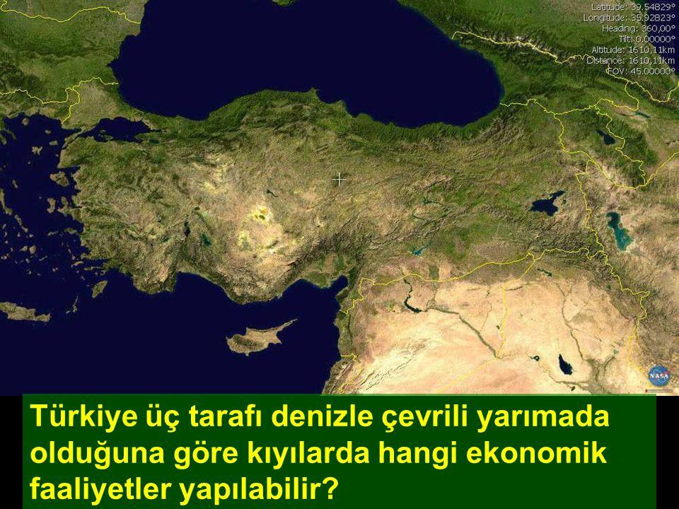 Türkiye üç tarafı denizle çevrili yarımada olduğuna göre kıyılarda hangi ekonomik faaliyetler yapılabilir