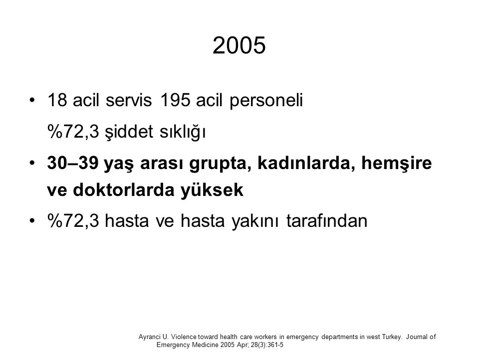 2005 18 acil servis 195 acil personeli %72,3 şiddet sıklığı
