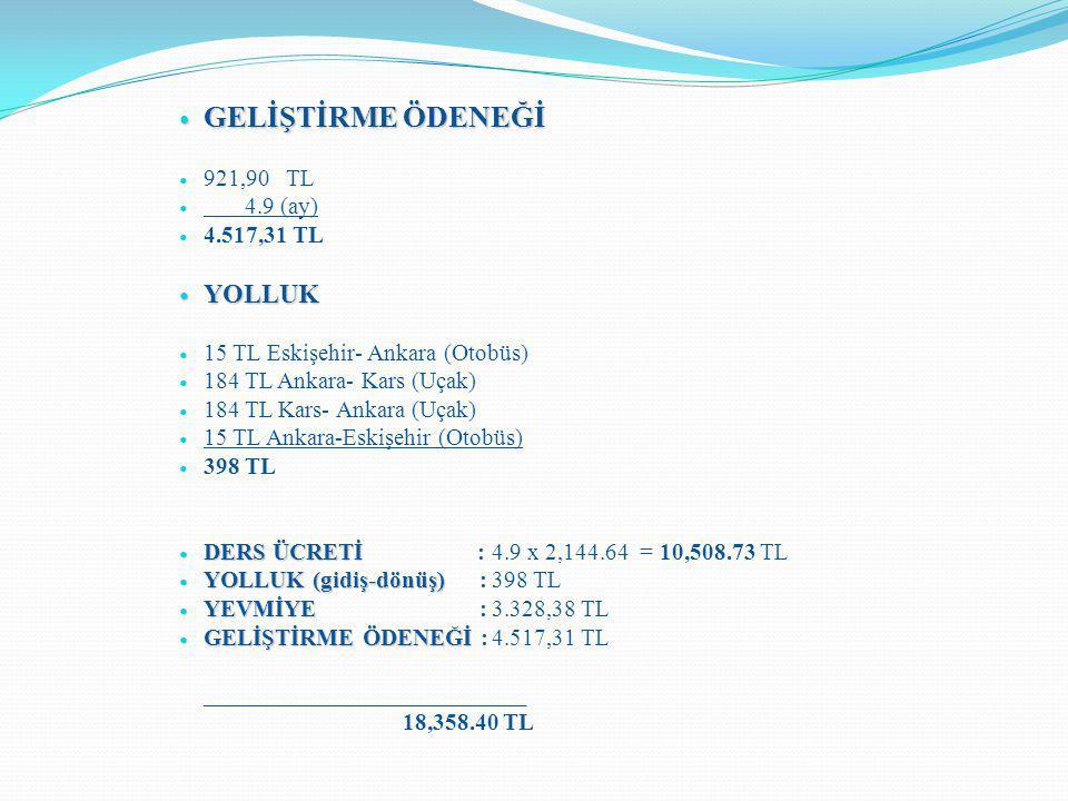 GELİŞTİRME ÖDENEĞİ YOLLUK 921,90 TL 4.9 (ay) 4.517,31 TL