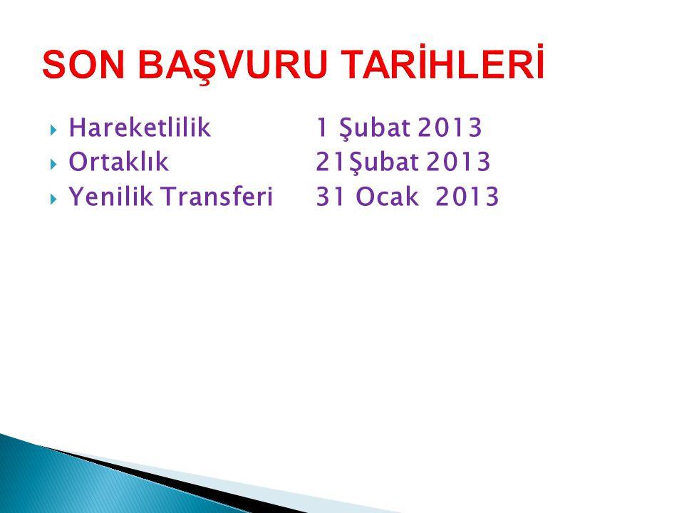 SON BAŞVURU TARİHLERİ Hareketlilik 1 Şubat 2013 Ortaklık 21Şubat 2013