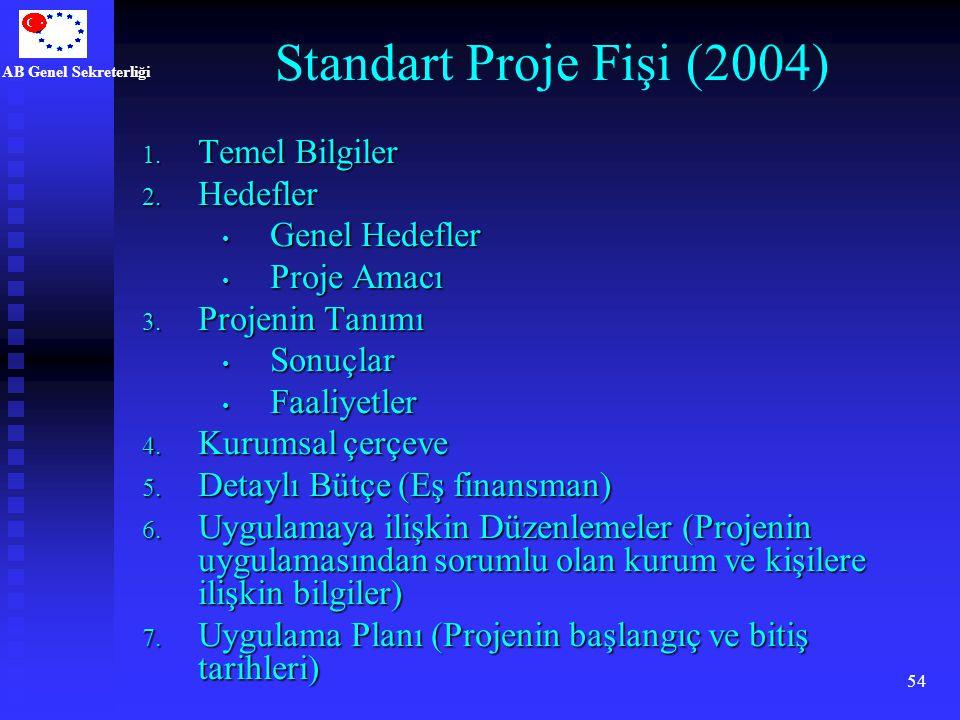 Standart Proje Fişi (2004) Temel Bilgiler Hedefler Genel Hedefler