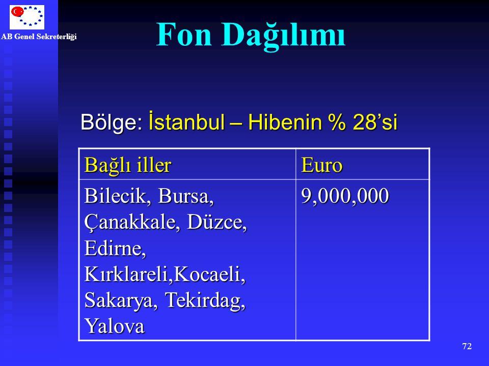 Fon Dağılımı Bölge: İstanbul – Hibenin % 28'si Bağlı iller Euro