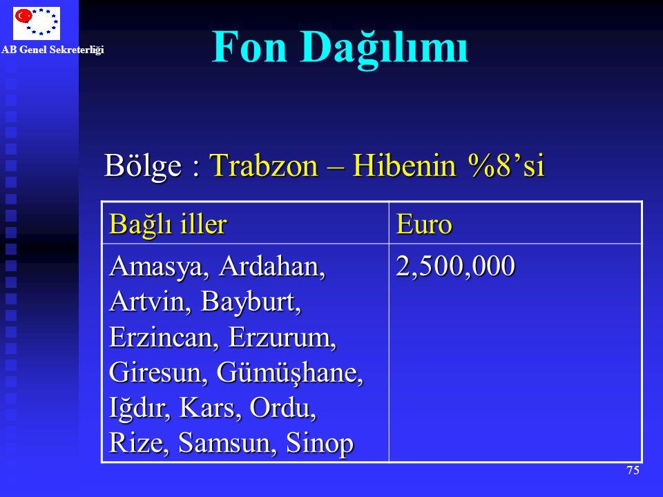 Fon Dağılımı Bölge : Trabzon – Hibenin %8'si Bağlı iller Euro