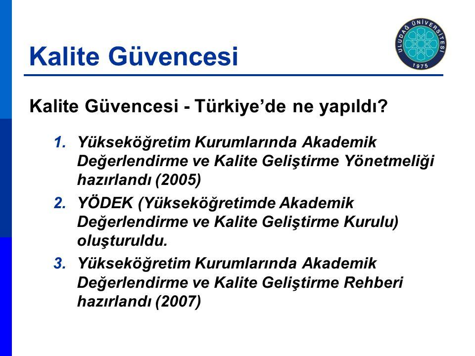 Kalite Güvencesi Kalite Güvencesi - Türkiye'de ne yapıldı