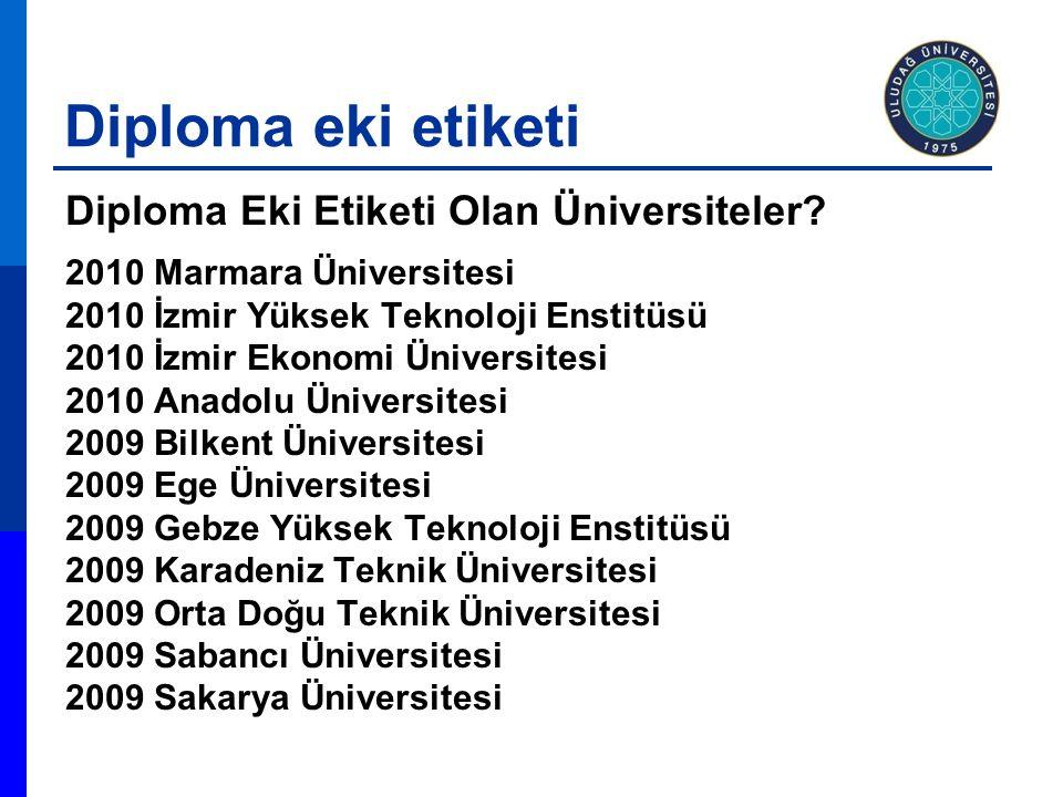 Diploma eki etiketi Diploma Eki Etiketi Olan Üniversiteler