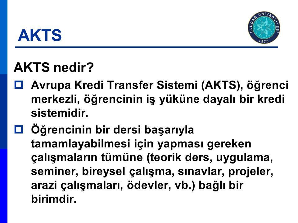 AKTS AKTS nedir Avrupa Kredi Transfer Sistemi (AKTS), öğrenci merkezli, öğrencinin iş yüküne dayalı bir kredi sistemidir.