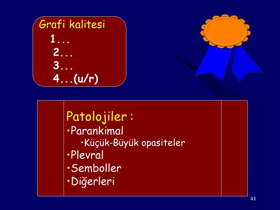 1... Patolojiler : Grafi kalitesi 2... 3... 4...(u/r) Parankimal