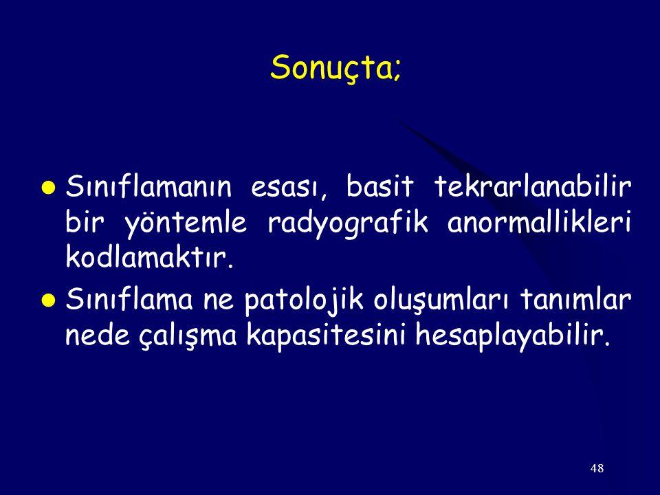 Sonuçta; Sınıflamanın esası, basit tekrarlanabilir bir yöntemle radyografik anormallikleri kodlamaktır.