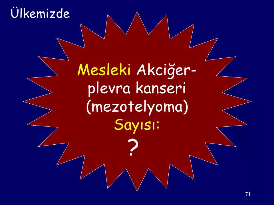 Ülkemizde Mesleki Akciğer- plevra kanseri (mezotelyoma) Sayısı: