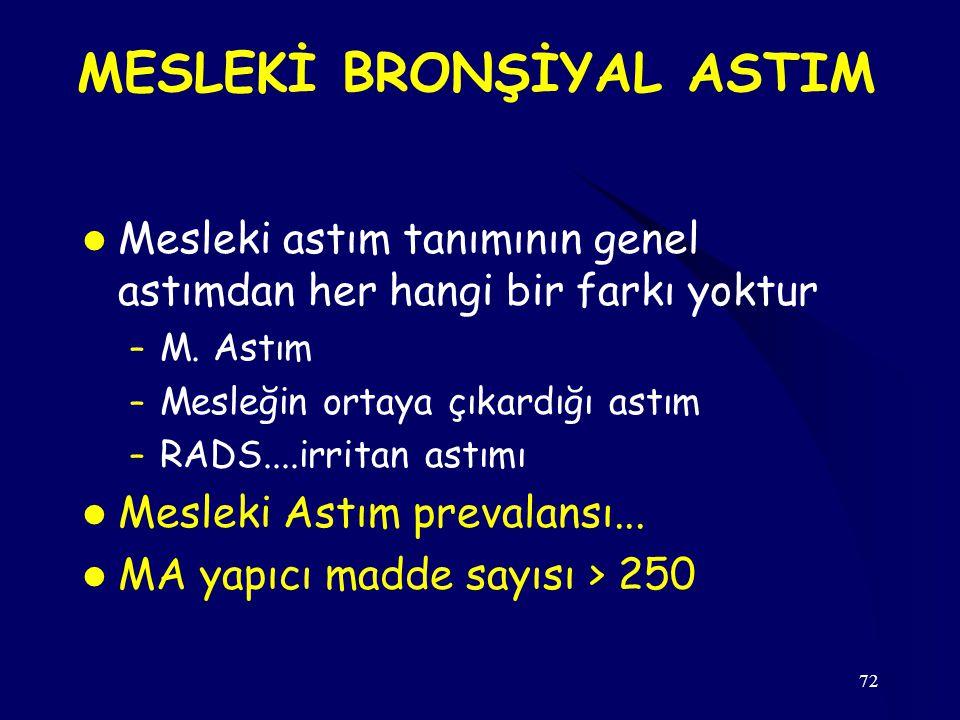 MESLEKİ BRONŞİYAL ASTIM