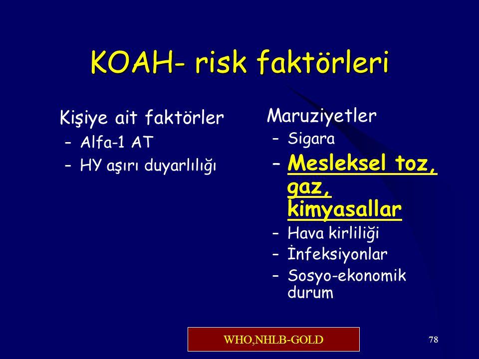 KOAH- risk faktörleri Mesleksel toz, gaz, kimyasallar