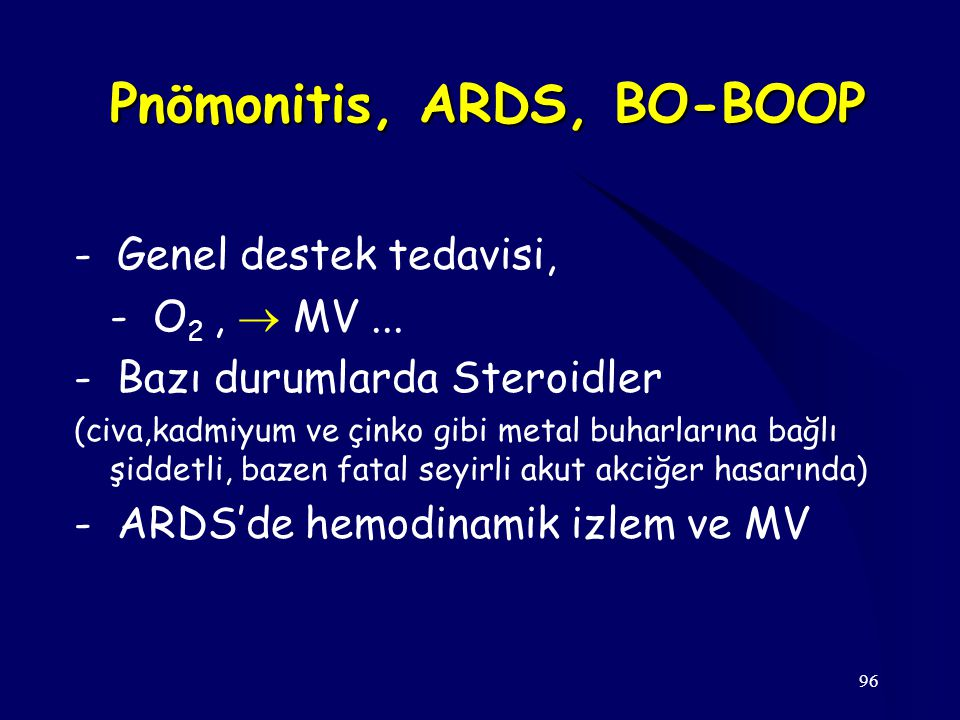 Pnömonitis, ARDS, BO-BOOP