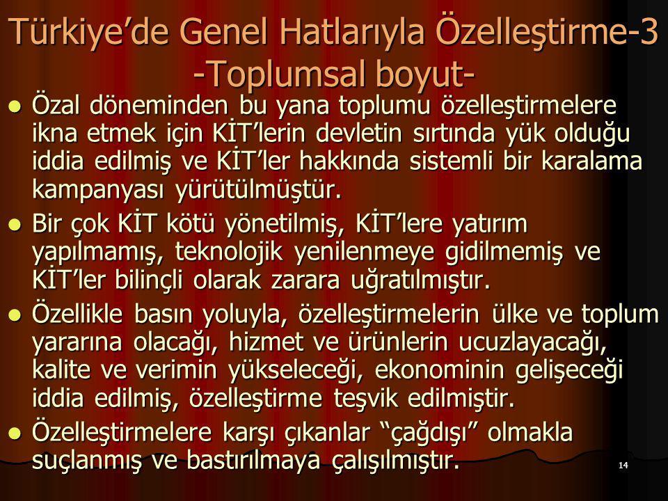 Türkiye'de Genel Hatlarıyla Özelleştirme-3 -Toplumsal boyut-