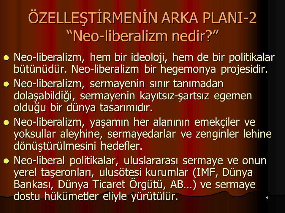 ÖZELLEŞTİRMENİN ARKA PLANI-2 Neo-liberalizm nedir