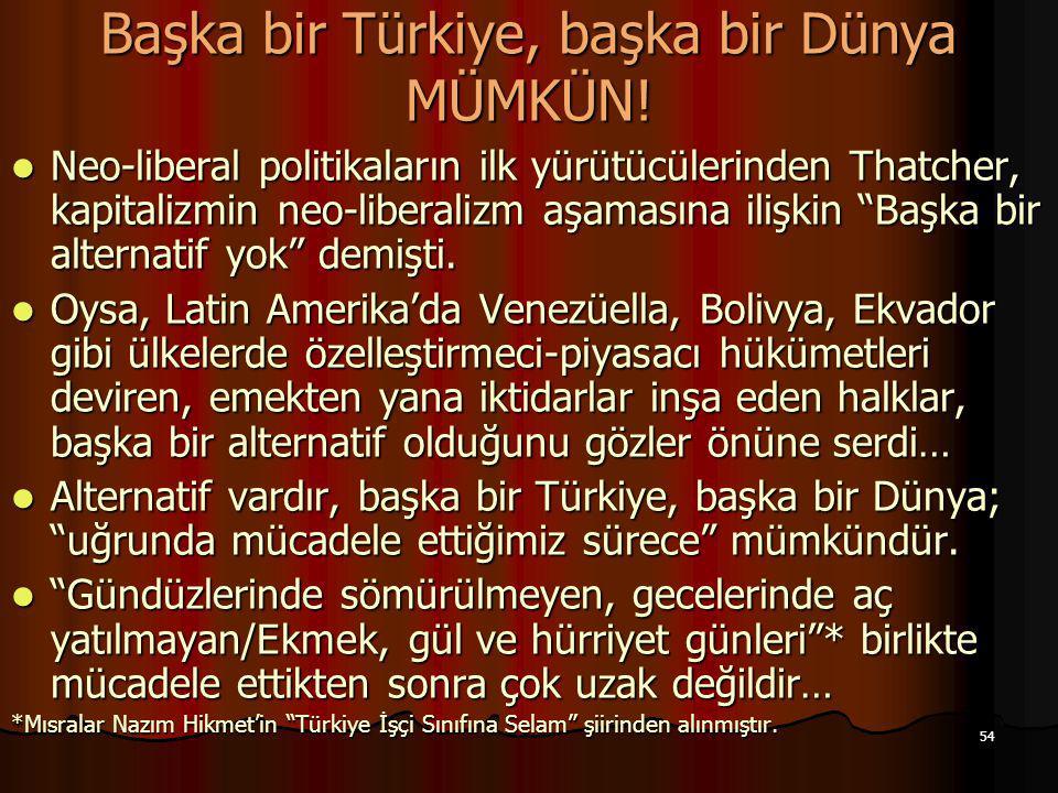 Başka bir Türkiye, başka bir Dünya MÜMKÜN!