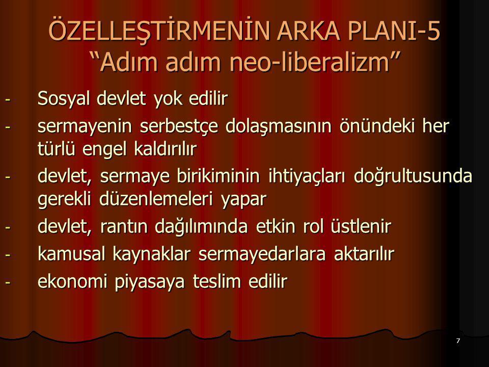 ÖZELLEŞTİRMENİN ARKA PLANI-5 Adım adım neo-liberalizm