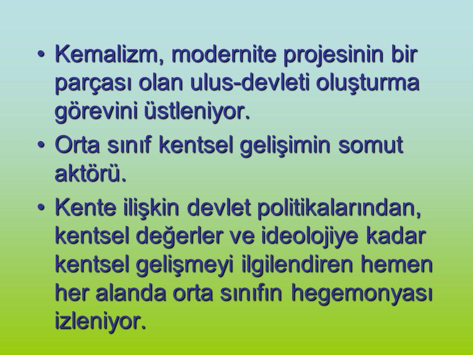 Kemalizm, modernite projesinin bir parçası olan ulus-devleti oluşturma görevini üstleniyor.