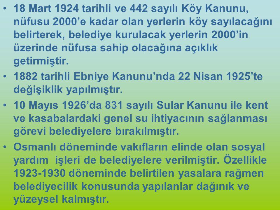 18 Mart 1924 tarihli ve 442 sayılı Köy Kanunu, nüfusu 2000'e kadar olan yerlerin köy sayılacağını belirterek, belediye kurulacak yerlerin 2000'in üzerinde nüfusa sahip olacağına açıklık getirmiştir.